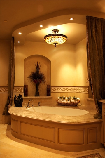recessed lighting in a bathroom