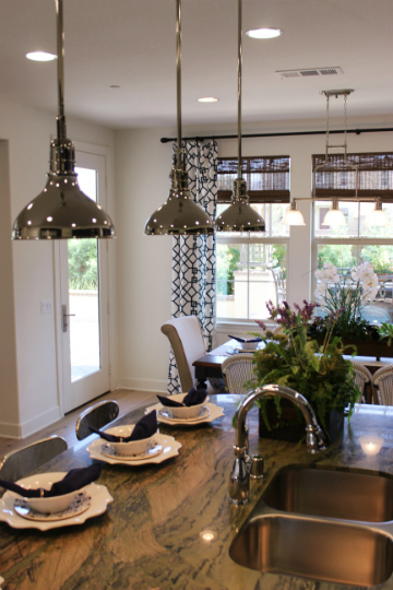 Kitchen pendants and recessed lights