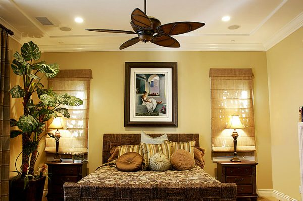 Image of a bedroom with recessed lighting